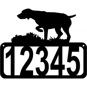 German Shorthaired Pointer Dog on Point  Dog House Address Sign