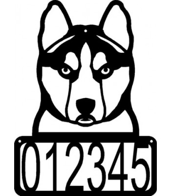 Siberian Husky Head Dog House Address Sign