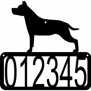 Staffordshire Terrier Dog House Address Sign