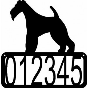 Wire Fox Terrier Dog House Address Sign