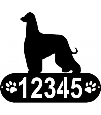 Afghan Hound Dog PAWS House Address Sign