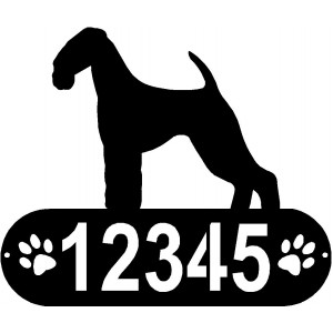 Airedale Terrier Dog PAWS House Address Sign