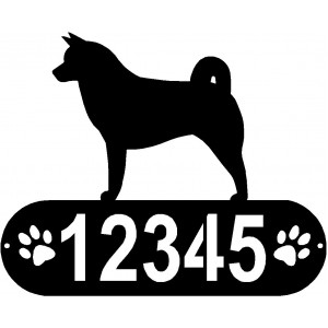Akita Dog PAWS House Address Sign