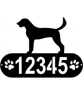 American Foxhound Dog PAWS House Address Sign