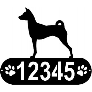Basenji Dog PAWS House Address Sign