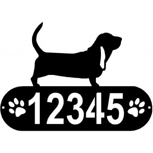 Basset Hound Dog PAWS House Address Sign