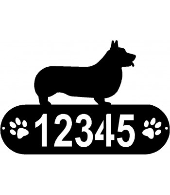 Pembroke Welsh Corgi Dog PAWS  House Address Sign