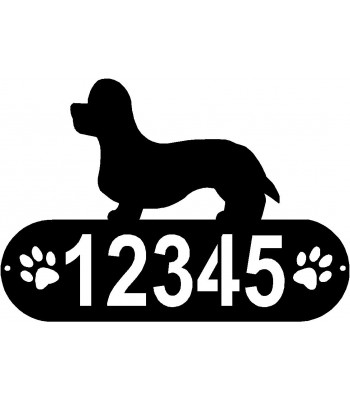 Dandie Dinmont Terrier Dog PAWS House Address Sign