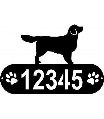 Golden Retriever PAWS House Address Sign