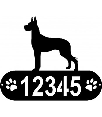 Great Dane PAWS House Address Sign