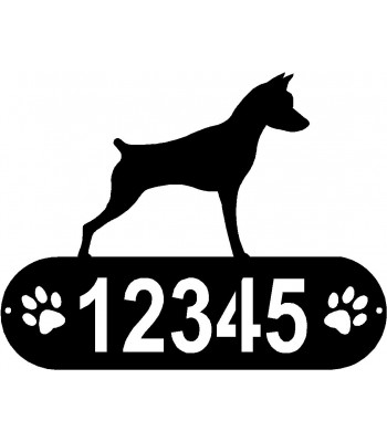 Miniature Pinscher PAWS House Address Sign