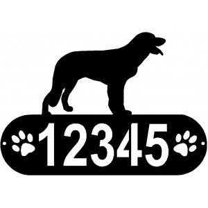 Longhaired Pointer Dog PAWS House Address Sign
