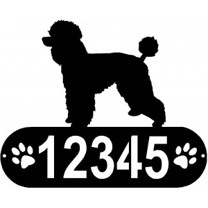 Poodle (Natural Cut)  Dog PAWS House Address Sign