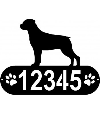 Rottweiler Dog PAWS House Address Sign