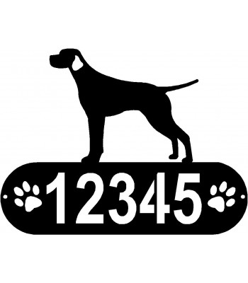 Smooth Pointer Dog PAWS House Address Sign