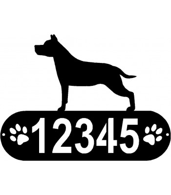 Staffordshire Terrier Dog PAWS House Address Sign