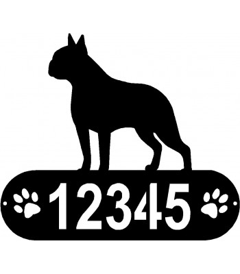 Boston Terrier PAWS House Address Sign