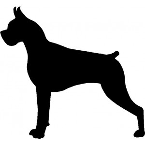 Dog Silhouette Wall Art Magnetic Memo: Boxer