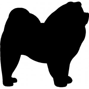 Dog Silhouette Wall Art Magnetic Memo: Chow Chow