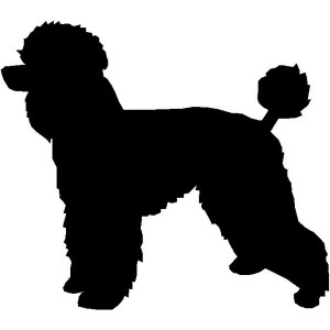 Dog Silhouette Wall Art Magnetic Memo: Poodle (Natural Cut)