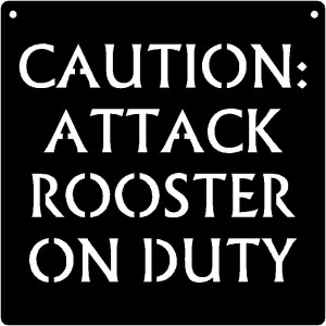 Chicken Sign - CAUTION Attack Rooster on Duty