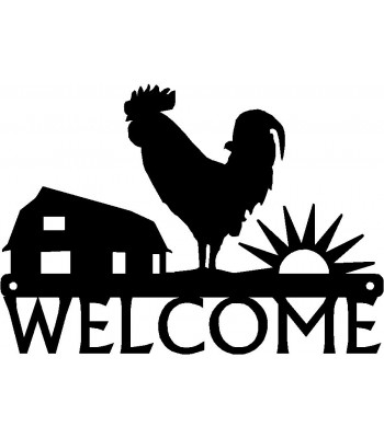 Welcome Sign - Sunrise Rooster Chicken