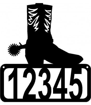 Cowboy Boot & Spur House Address Sign
