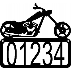 Motorcycle #02 Chopper House Address Sign