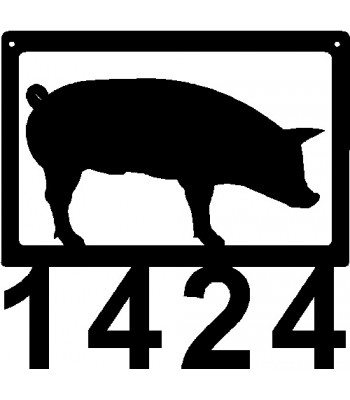 Pig #02 Small Personalized Address Sign