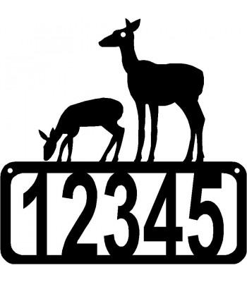 Deer Doe and Fawn House Address Sign