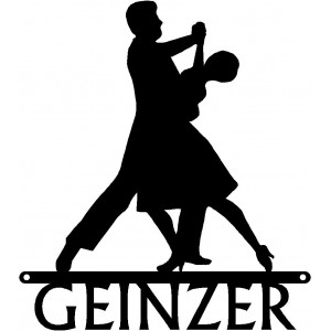 Dance Art Sign - Personalized Name Sign: Ballroom Dance Couple