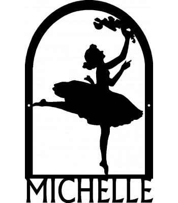 Dance Art Sign - Personalized Name Sign: Arched Ballerina Dancer