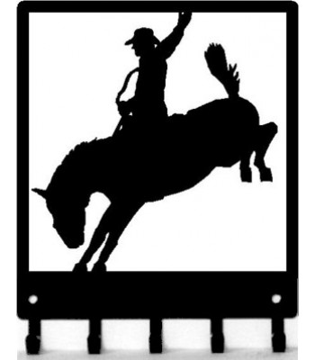 Bronco Rider Framed Western Cowboy Key Rack with hooks