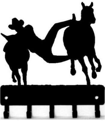 Bulldogging Cowboy Rodeo Key Rack with hooks