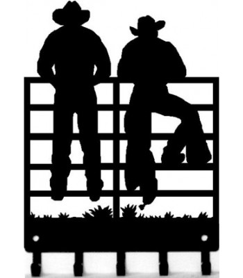 Cowboys at the Fence -Western  Key Rack with hooks