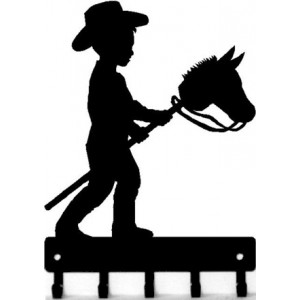 Stick Pony / Hobby Horse - Western Cowboy Key Rack with hooks