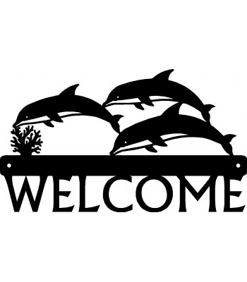 Dolphin Trio Welcome Sign