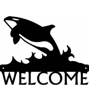 Orca Whale Breaching- Welcome Sign