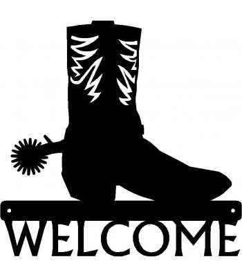 Cowboy Boot & Spur - Western Welcome Sign
