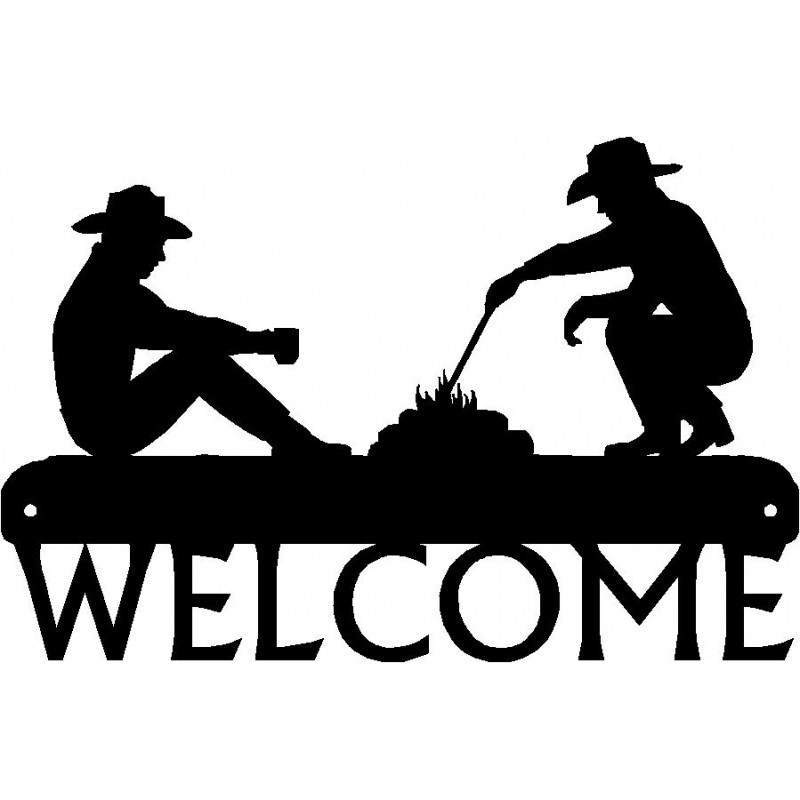 campfire western welcome sign rh artisanmetalshop com Cowboys by Campfire Cowboys by Campfire