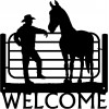 """Pals"" Horse and  Cowboy Western Welcome Sign"