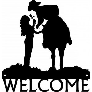 Romantic Couple - Cowboy & Cowgirl - Welcome sign