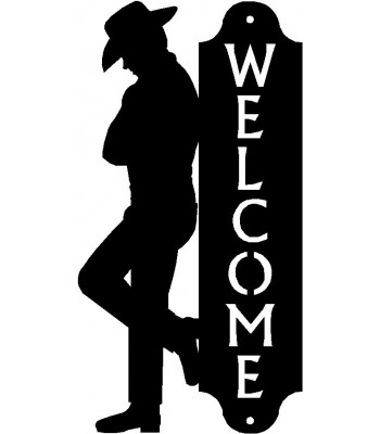 Leaning Cowboy Western Welcome Sign