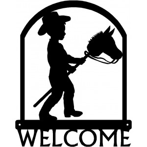 Stick Pony/ Hobby Horse Little Cowboy Western Welcome Sign