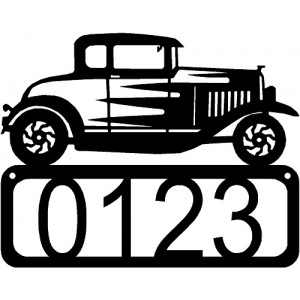 Vintage Hot Rod Car House Address Sign