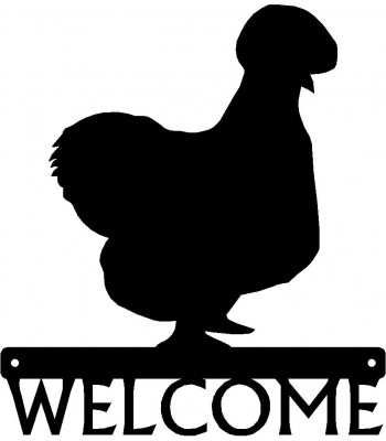 Silkie Chicken #01 Welcome Sign