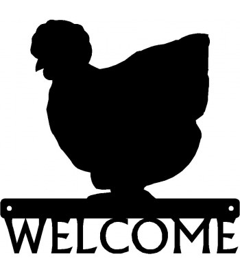 Silkie Chicken #02 Welcome Sign