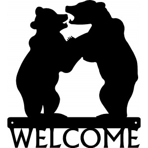 Bear Cubs Playing Welcome Sign