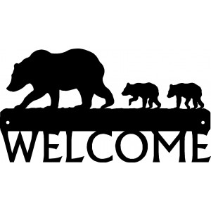 Bear and cubs Welcome Sign