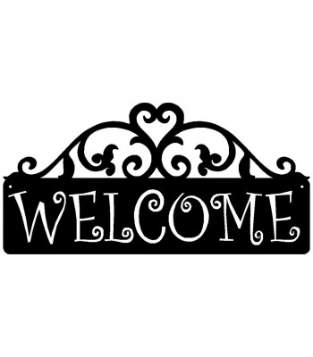 Welcome Sign - Curling Vines Scroll